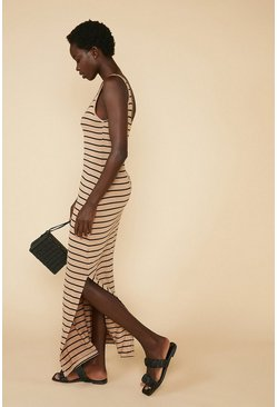 Beige Stripe Split Side Maxi Dress