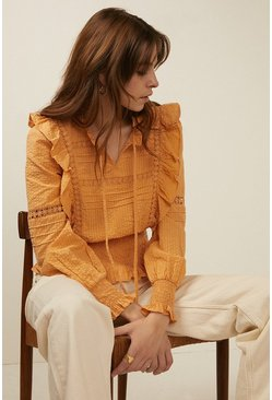 Apricot Insert Detail Blouse