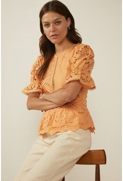 Apricot Pintuck Cutwork Blouse