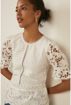 Ivory Pintuck Cutwork Blouse