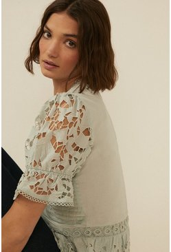 Sage Pintuck Cutwork Blouse
