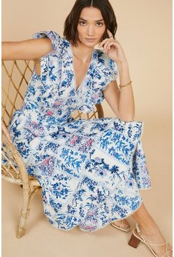 Multi Printed Frill Midi Dress