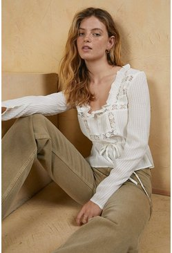 Ivory Lace Insert Cotton Blouse