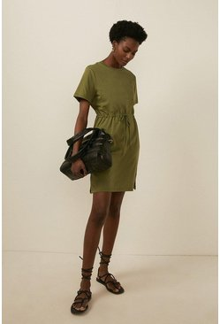 Khaki Organic Cotton Drawstring T Shirt Dress