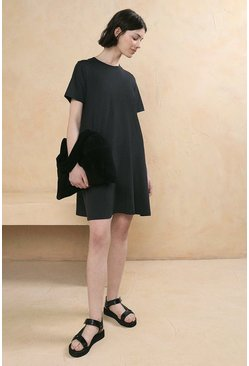 Charcoal Organic Cotton Trapeze T Shirt Dress