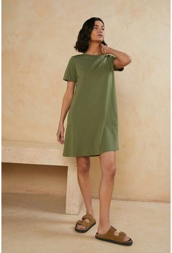 Khaki Organic Cotton Trapeze T Shirt Dress