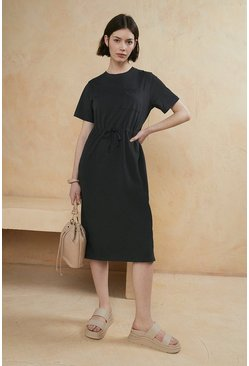 Charcoal Organic Cotton Drawstring T Shirt Midi Dress