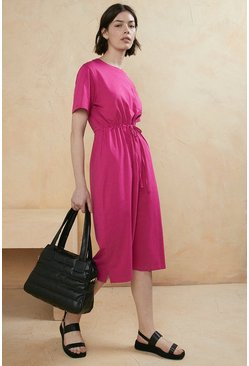 Magenta Organic Cotton Drawstring T Shirt Midi Dress