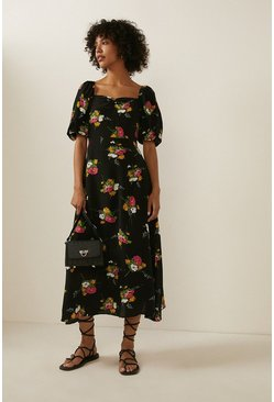 Black Bouquet Floral Puff Sleeve Midi Dress