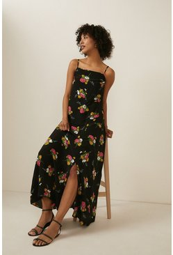 Black Bouquet Floral Print Split Skirt