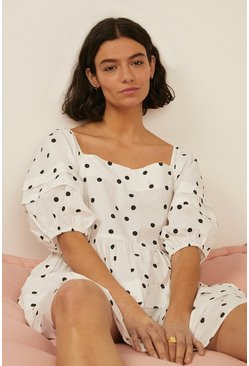 White Polka Dot Square Neck Dress