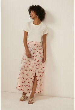 Pale pink Rose Print Split Skirt