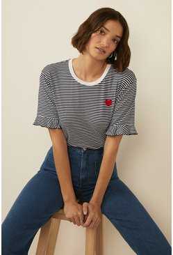 Navy Embroidered Heart Stripe Frill Sleeve T Shirt