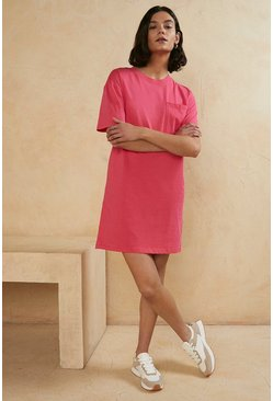 Hot pink Organic Cotton T Shirt Dress