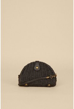 Black Semi Circle Straw Bag With Pu Strap