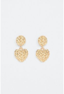 Gold Hatched Heart Drop Earrings