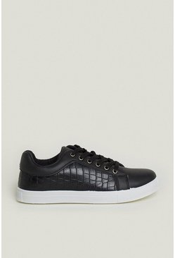 Black Croc Lace Up Trainer