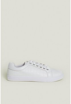 White Croc Lace Up Trainer