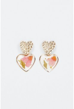 Gold Trapped Flower Charm Earring
