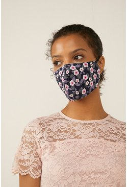 Blue Floral Face Mask