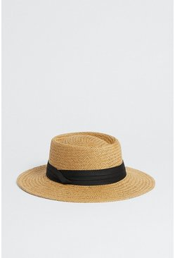 Black Straw Hat With Band Detail