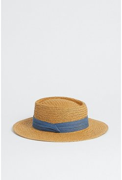 Blue Straw Hat With Band Detail