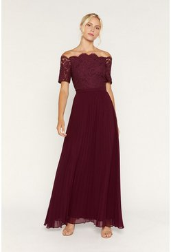 Burgundy Lace Bardot Maxi Dress