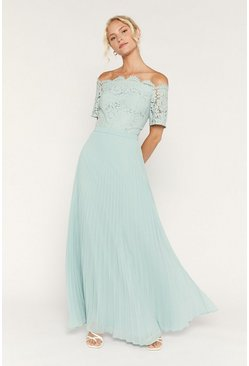Pale green Lace Bardot Maxi Dress