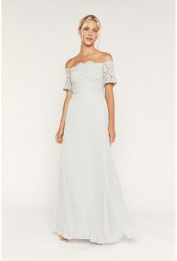 Pale grey Lace Bardot Maxi Dress