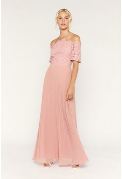Pale pink Lace Bardot Maxi Dress