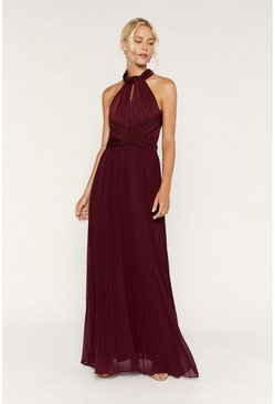Burgundy Multiway Pleated Maxi Dress