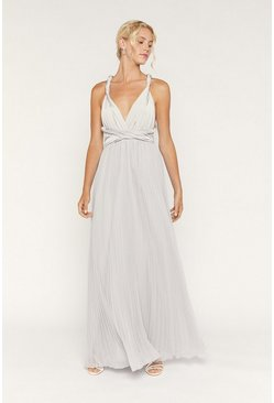 Pale grey Multiway Pleated Maxi Dress