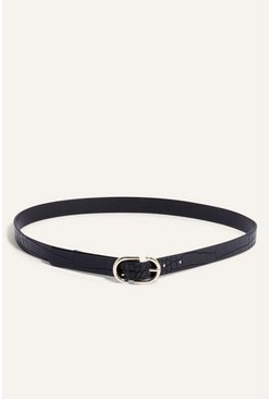 Black Faux Croc Oval Buckle Belt