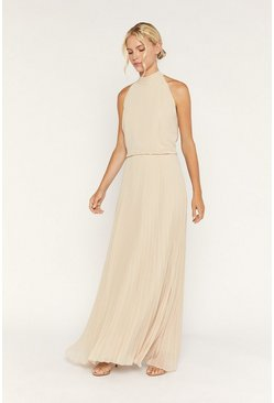 Gold High Neck Pleat Maxi Dress