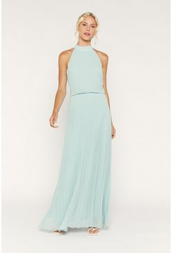 Pale green High Neck Pleat Maxi Dress