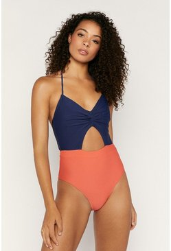Multi Colourblock Cut Out Swimsuit