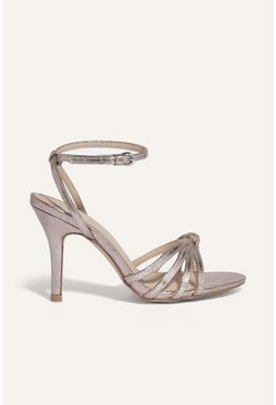 Gold Strappy Knotted Heel