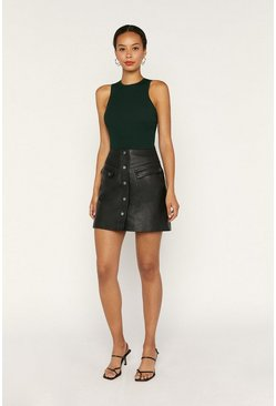 Black Leather Detail Skirt