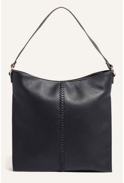 Black Whipstitch Hobo Bag
