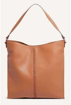 Tan Whipstitch Hobo Bag