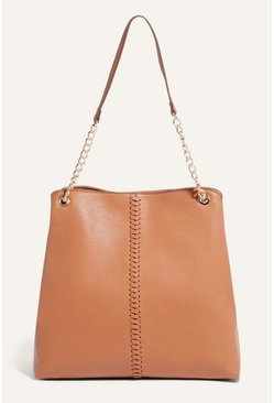 Tan Whipstitch Shoulder Bag