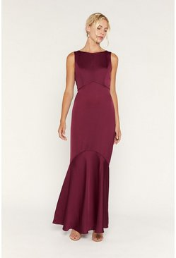 Burgundy High Neck Occasion Dress