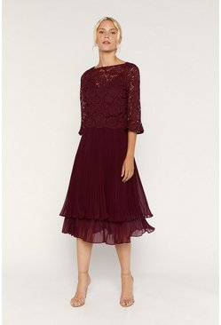 Burgundy Flute Sleeve Tiered Midi Dress