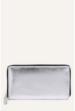 Silver Leather Zip Around Purse