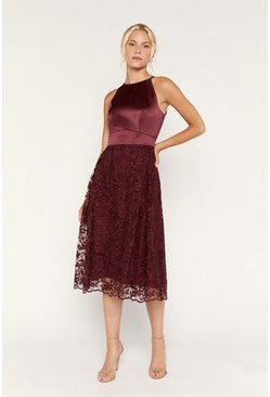 Burgundy Satin Bodice Organza Midi Dress