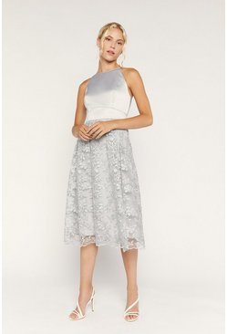 Pale grey Satin Bodice Organza Midi Dress