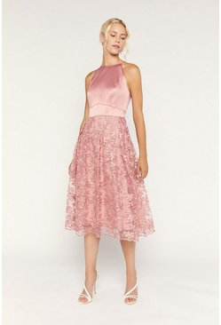 Pale pink Satin Bodice Organza Midi Dress