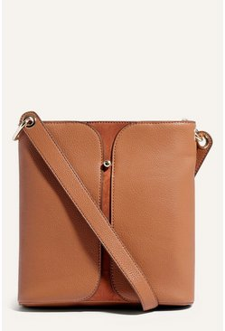 Tan Gold Stud Cross Body Bag
