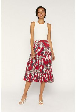 Red Tropical Pleated Midi Skirt