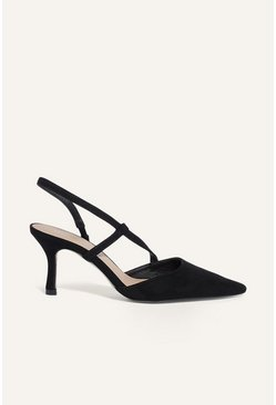 Black  Pointed Slingback Heel